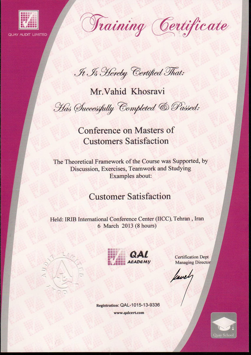 Certificate in Conference on Masters of Customers Satisfaction